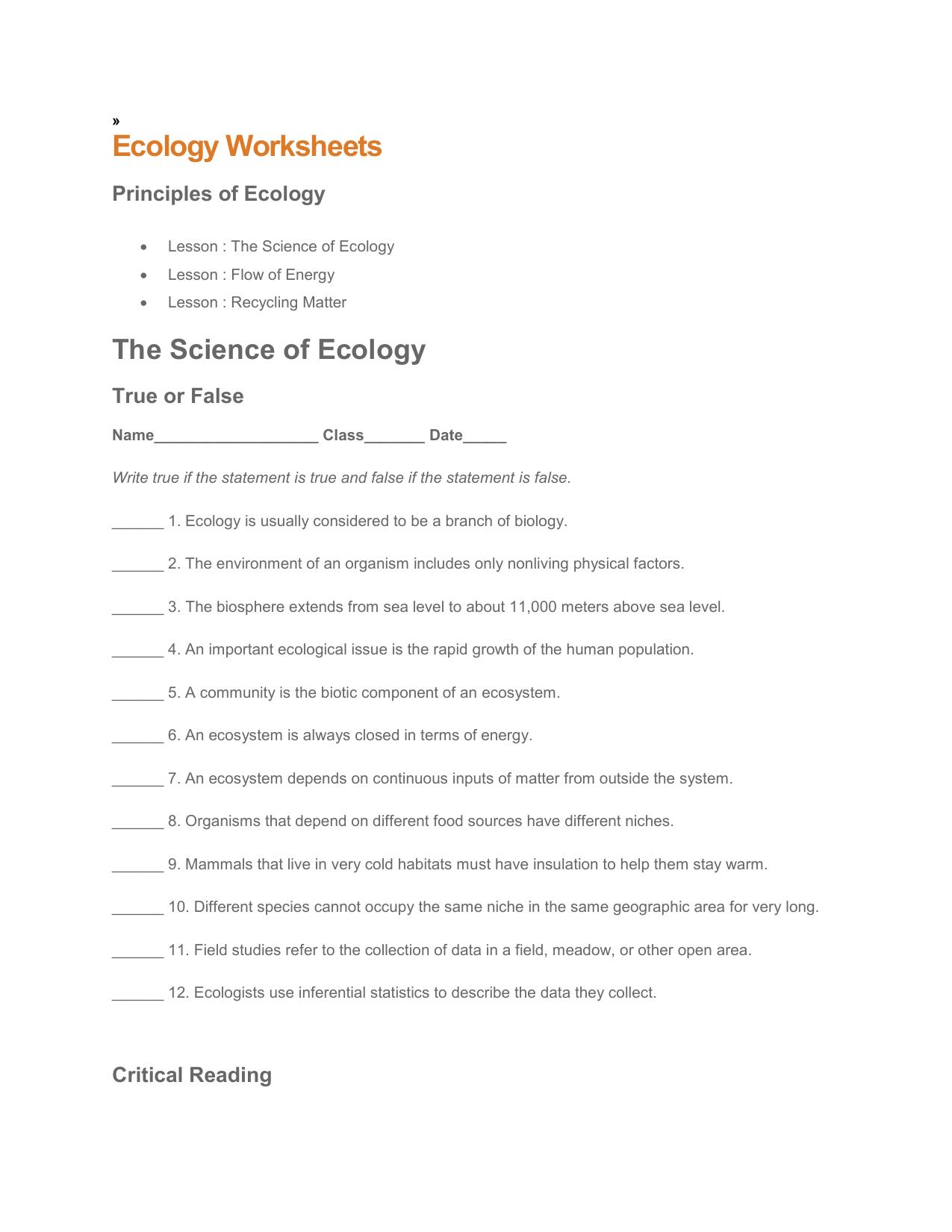 EcologyWorksheets