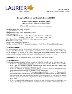 Research Methods for Health Sciences HE2