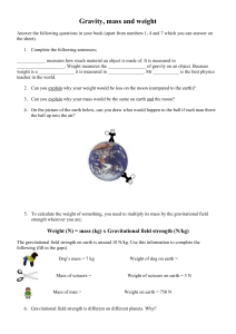 Gravity mass and weight sheet