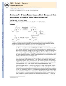 Synthesis of (-)-Δ9-trans-Tetrahydrocannabinol - Stereocontrol via Mo-catalyzed Asymmetric Allylic Alkylation Reaction