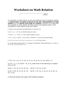 Worksheet on Math Relation