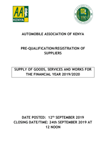 Pre-qualification of Suppliers
