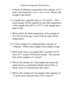 Density&Specific Heat Practice