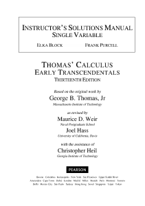 George B. Thomas , Maurice D. Weir , Joel R. Hass - Instructor's Solutions Manual to Thomas' Calculus  Early Transcendentals, 13 (1)