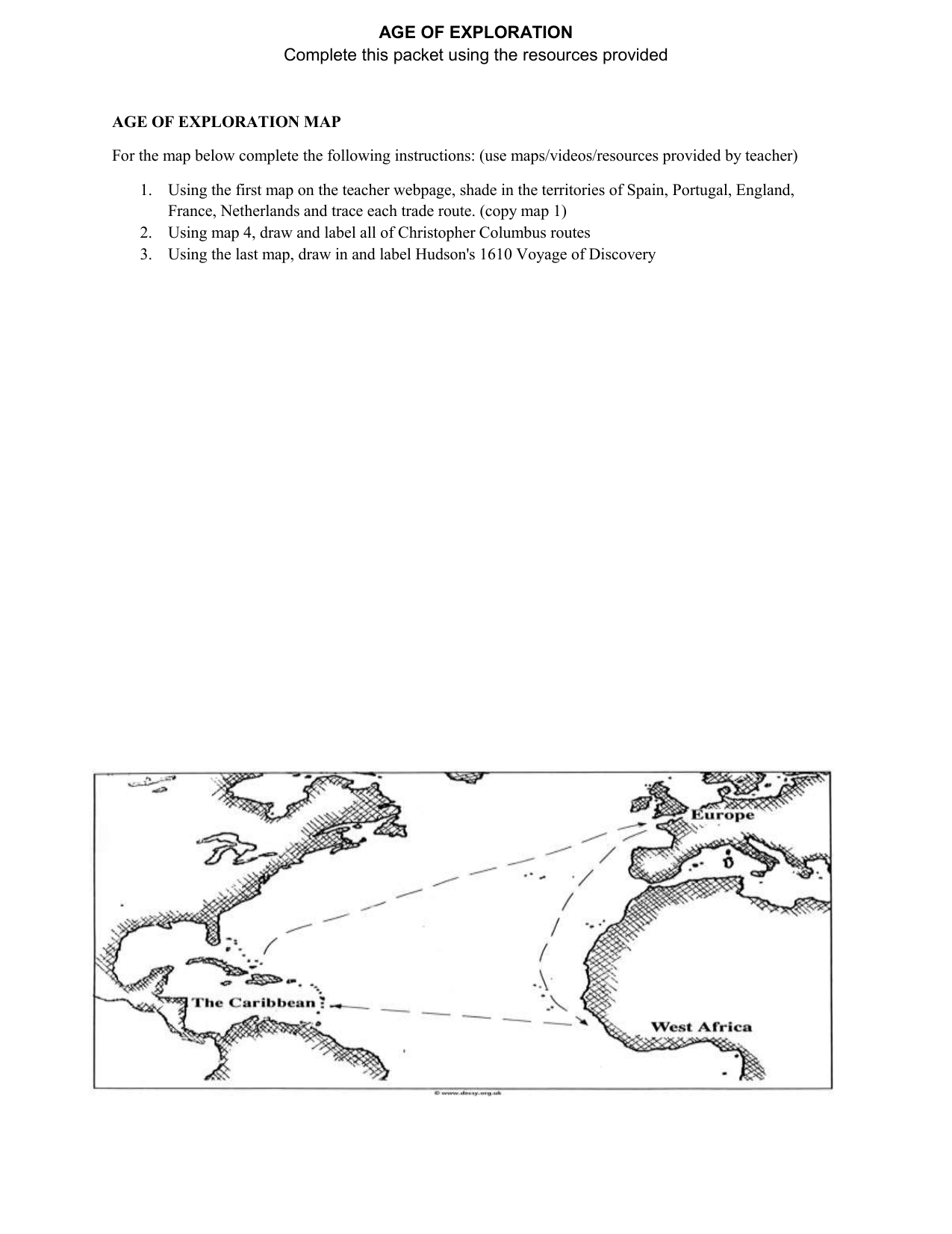 Columbian Exchange Map Drawing