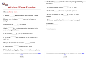 Which or Where Exercise - GrammarBank