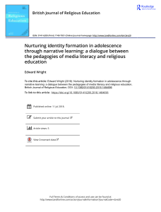 Nurturing identity formation in adolescence through narrative learning a dialogue between the pedagogies of media literacy and religious education