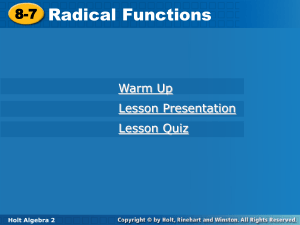Radical Functions Holt PPT