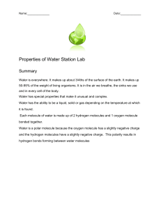 Properties of Water Station