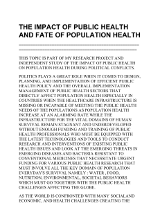 THE IMPACT OF PUBLIC HEALTH AND FATE OF POPULATION HEALTH