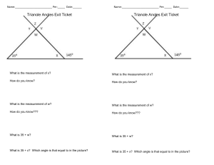 Triangle exit ticket- Interior, exterior and vertical angles