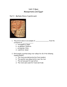 Unit 2 Quiz - Mesopotamia and Egypt