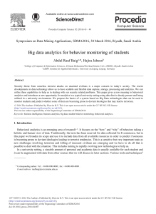 Big Data Analytics for Behavior Monitoring of Students
