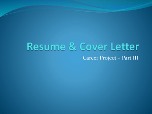 Resume Cover Letter PPT