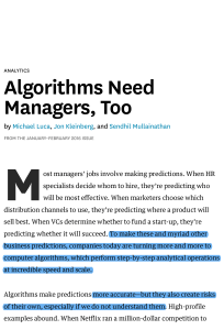 Algorithms Need Managers, Too