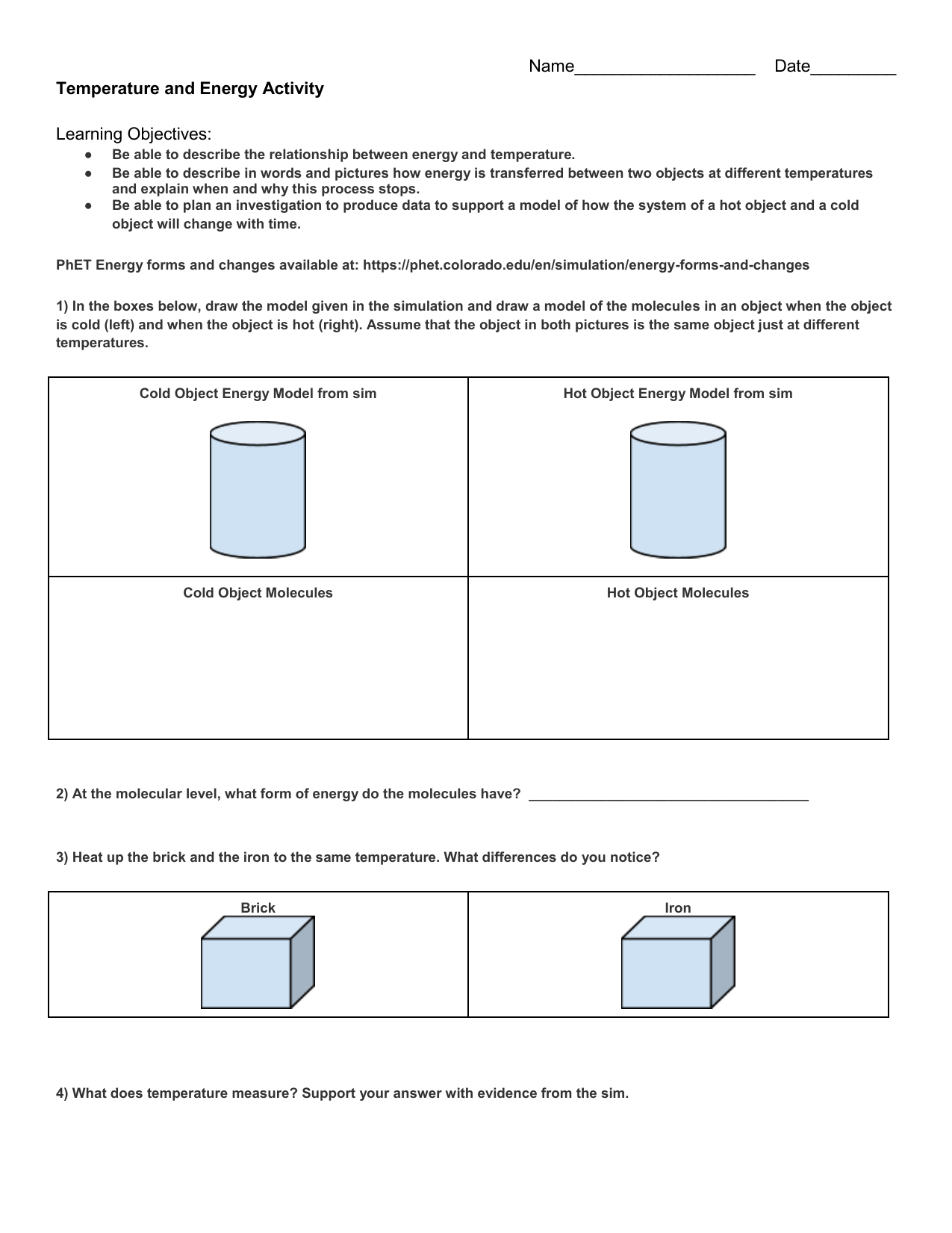 Temperature and Energy Student Handout