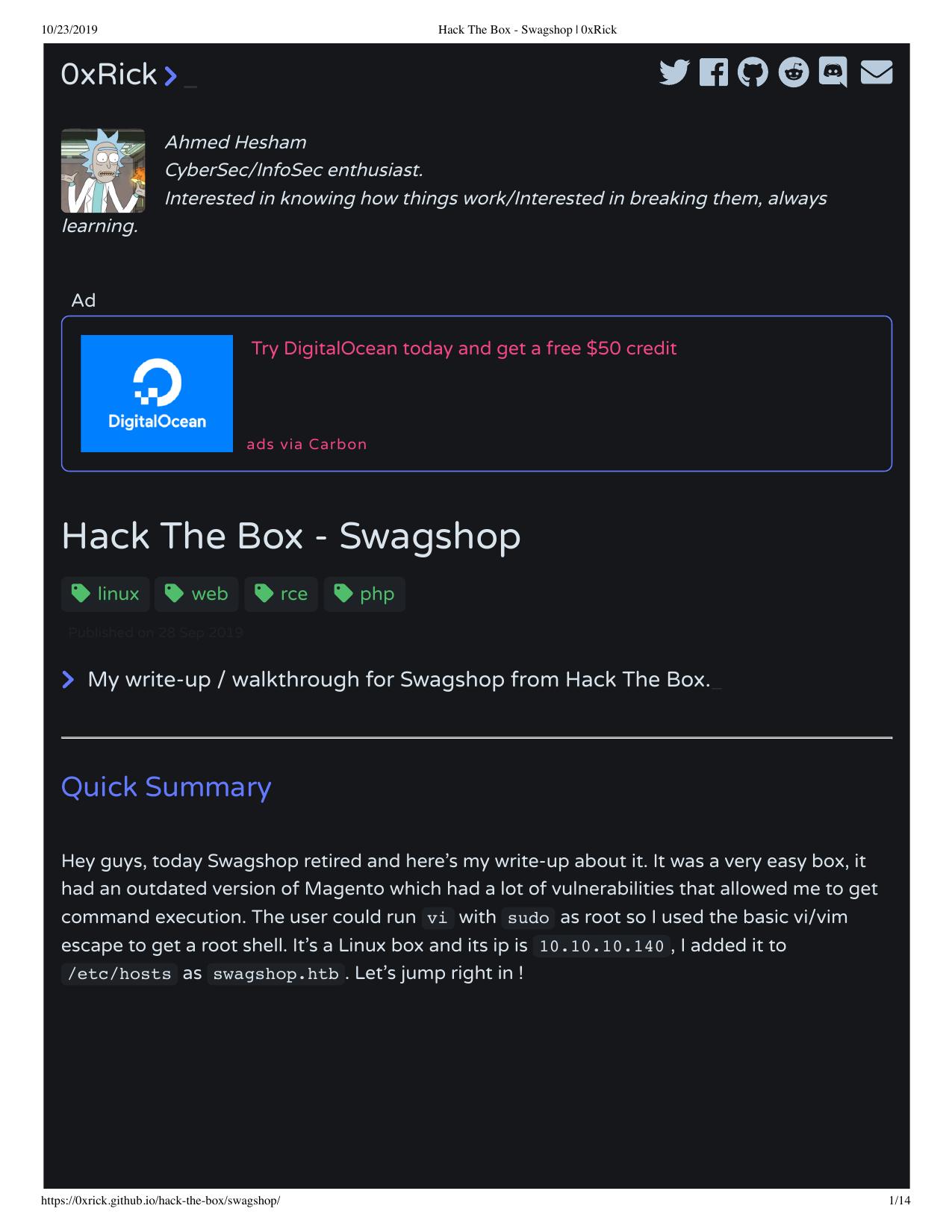 Hack The Box Swagshop 0xrick Writeup