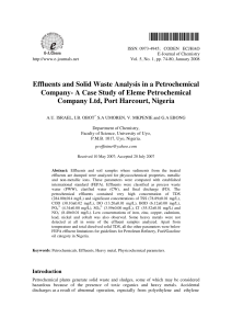 Effluent and solid waste Analysis in a Petrochemical Company