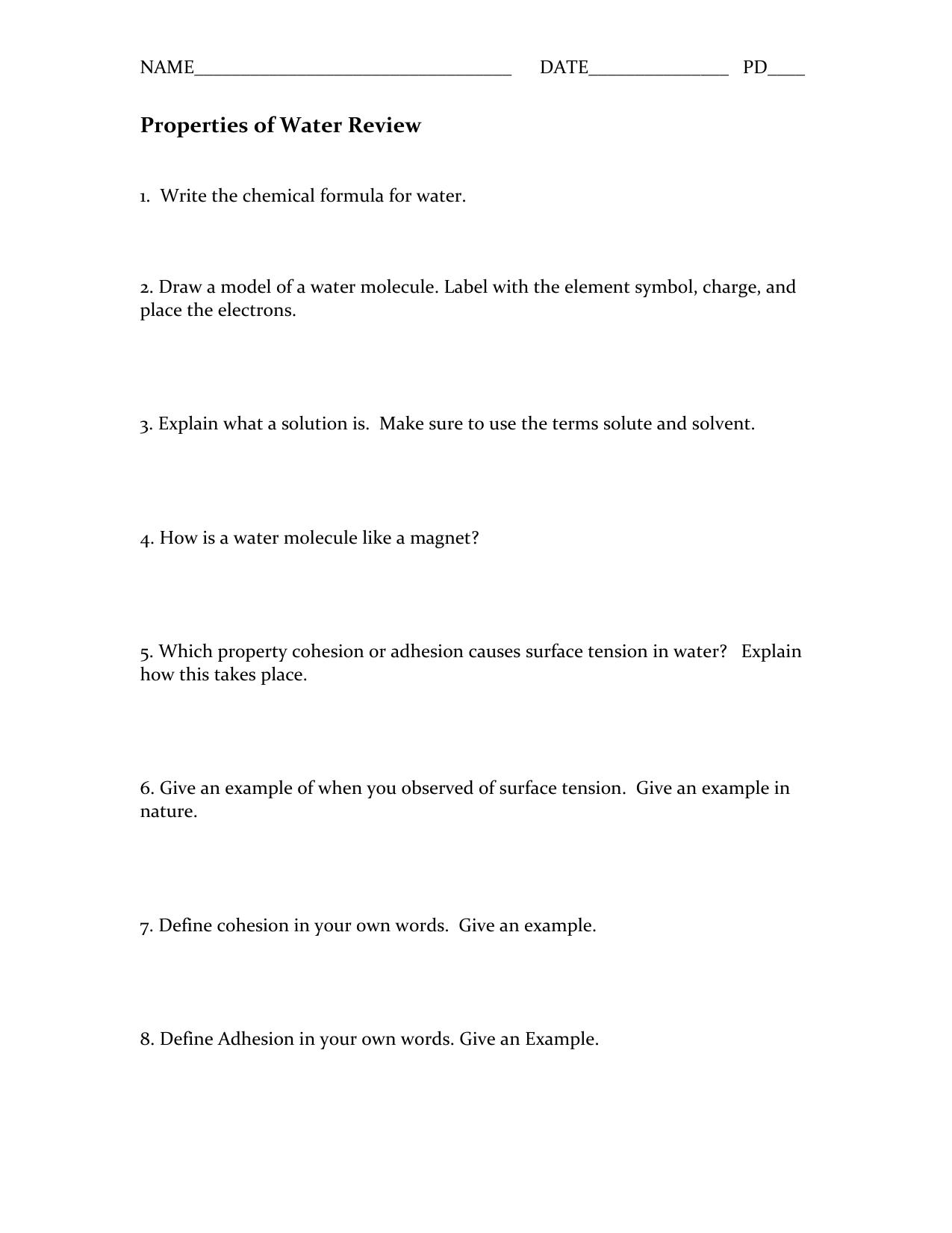properties of water worksheet b