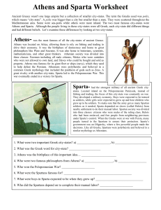 Athens and Sparta Worksheet