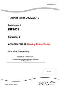 INF2603 202 2019 Marking Guide