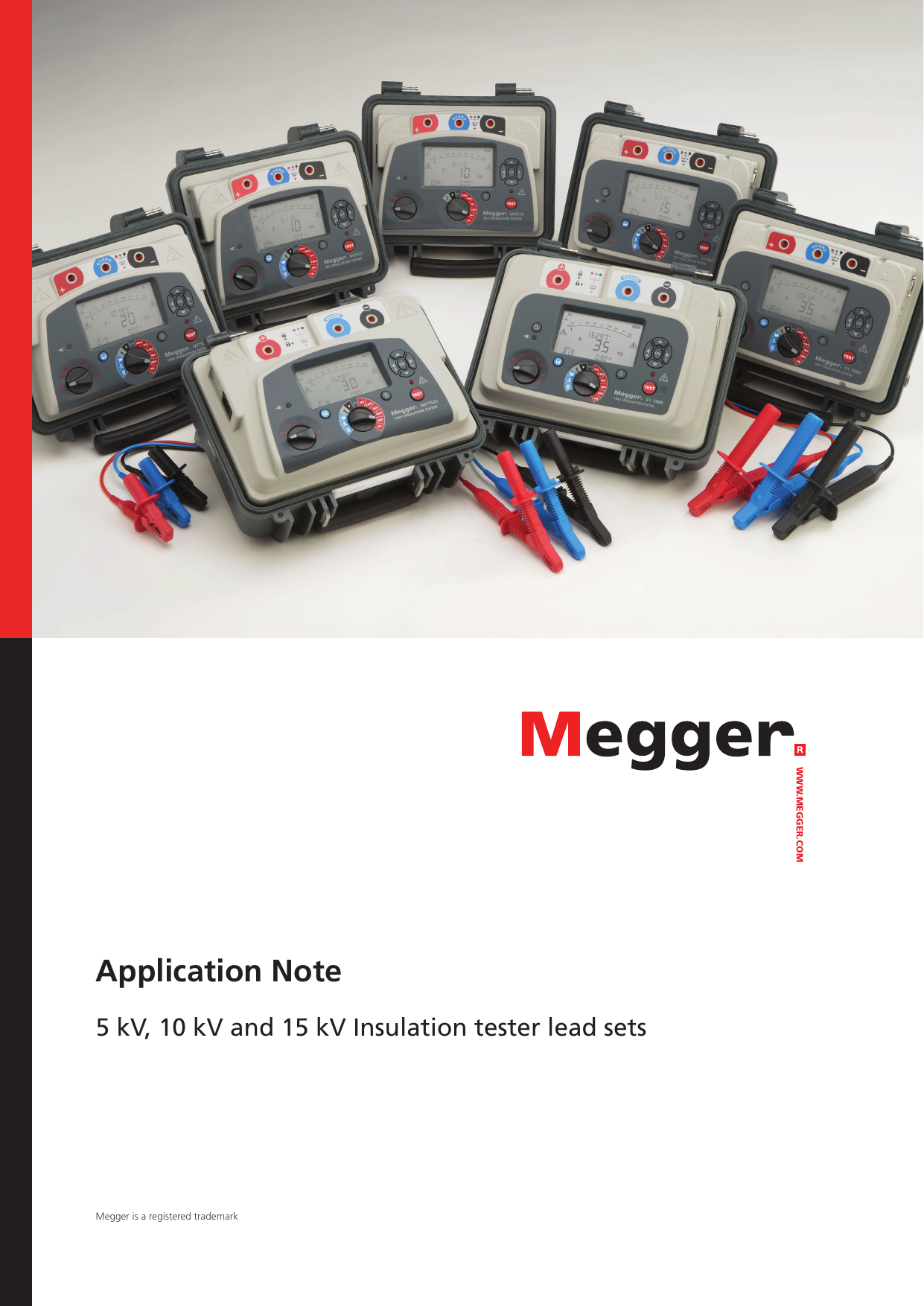 10kV Test Voltage Megger 1002-534 3-Piece Insulated Lead Clips Set 9.8 Length