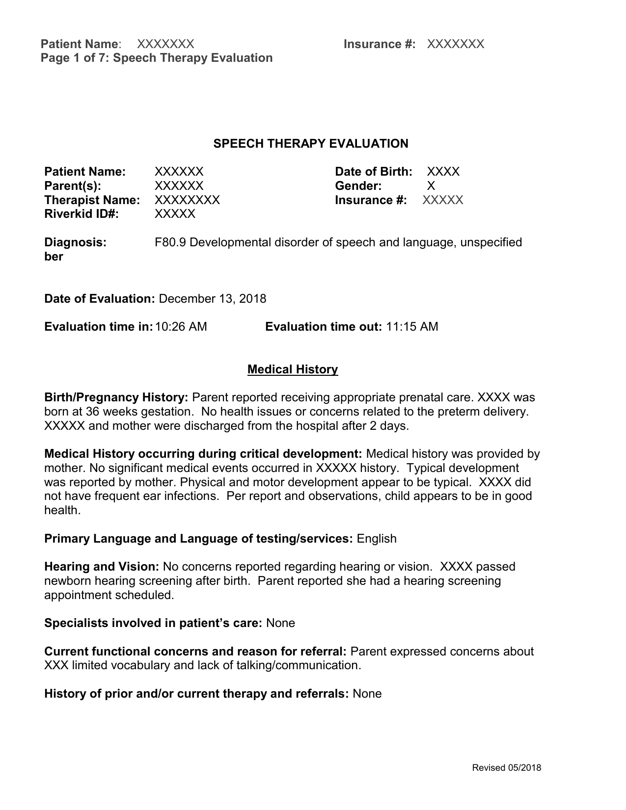 Report template Within Speech And Language Report Template