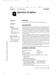 treactivity of metals lab