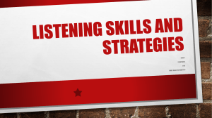 1. Listening Skills and Strategies