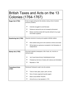 British Taxes & Acts 1763-1767