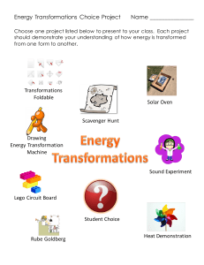 4 Elaboration - Energy Transformations Student Project