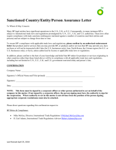 Sanctioned Country Entity Person Confirmation Form (May 2018)