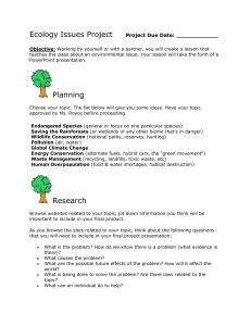 Ecology Issues Project