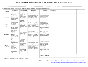 Peer Rating Rubric for group activity