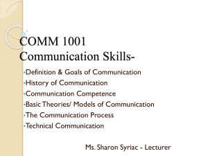 LECTURE 1 Intro. to Technical Commun.
