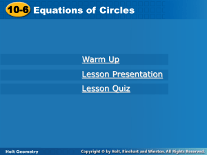 10 6 Equations of Circles