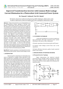 IRJET-Improved Transformerless Inverter with Common Mode Leakage Current Elimination for a Photovoltaic Grid-Connected Power System