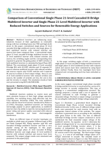 IRJET-    Comparison of Conventional Single Phase 21-Level Cascaded H-Bridge Multilevel Inverter and Single Phase 21 Level Multilevel Inverter with Reduced Switches and Sources for Renewable Energy Applications