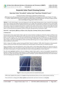IRJET- 	  Domestic Solar Panel Cleaning System