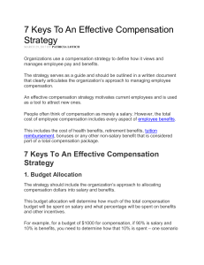 7 Keys To An Effective Compensation Strategy