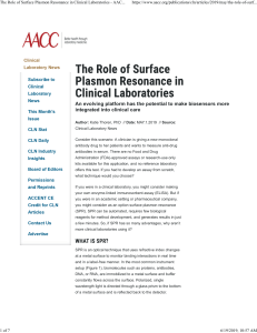 The Role of Surface Plasmon Resonance in Clinical Laboratories - AACC publication