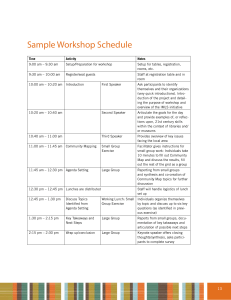Sample Group Workshop Schedule
