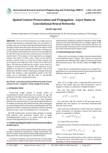 IRJET-    Spatial Context Preservation and Propagation - Layer States in Convolutional Neural Networks