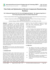 IRJET-Time Study and Optimization of Elevator Components Manufacturing Machines