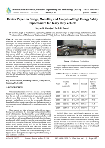 IRJET-Review Paper on Design, Modelling and Analysis of High Energy Safety Impact Guard for Heavy Duty Vehicle