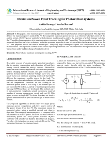 IRJET-Maximum Power Point Tracking for Photovoltaic Systems