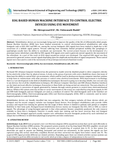IRJET-EOG based Human Machine Interface to Control Electric Devices using Eye Movement