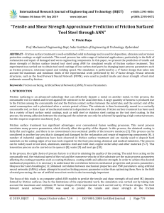 IRJET-Tensile and Shear Strength Approximate Prediction of Friction Surfaced Tool Steel through ANN
