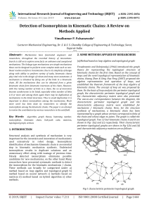 IRJET-Detection of Isomorphism in Kinematic Chains: A Review on Methods Applied