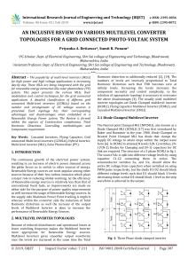 IRJET-An Inclusive Review on Various Multilevel Converter Topologies for a Grid Connected Photo-Voltaic System